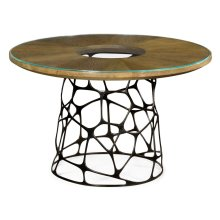 Circular Oak & Brass Coffee Table