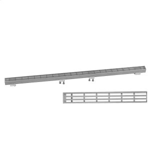 """Brushed Stainless - Slim 24"""" Channel Drain Bar Grate Product Image"""