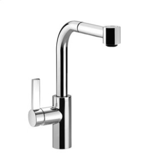 Single-lever mixer with pull-out spout with spray function lever on left - chrome Product Image