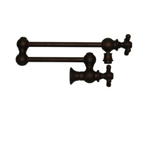 Vintage III wall mount pot filler with cross handles and a swivel aerator. Product Image