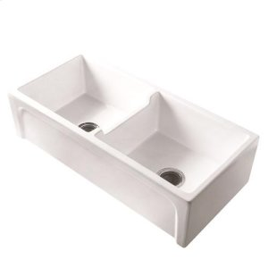 """Myron 39"""" Double Bowl Fire Clay Farmer Sink - Bisque Product Image"""