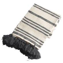Black & Natural Striped Slub Woven Throw with Tassels