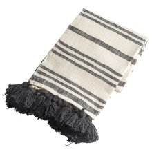 Black & Natural Striped Slub Woven Throw with Tassels