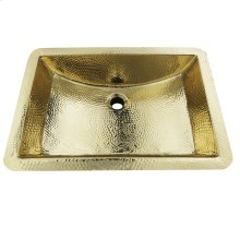 21 Inch Hand Hammered Brass Rectangle Undermount Bathroom Sink with Overflow
