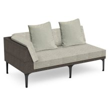 """67"""" Outdoor Dark Grey Rattan 2 Seat L-Shaped Right Sofa Sectional, Upholstered in Standard Outdoor Fabric"""