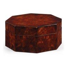 Octagonal mahogany crotch veneer box