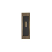 Rectangle Flush Pull - Turn Recess Leather In Black Tea And Fine Antique Brass