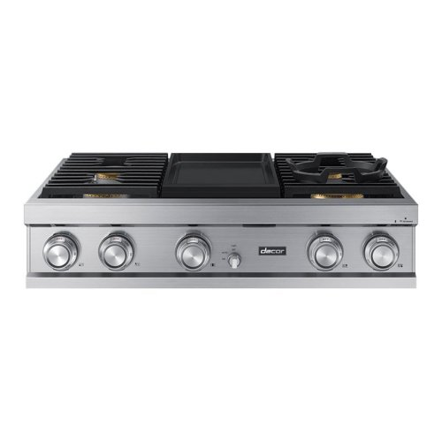 """Modernist 36"""" Rangetop, Silver Stainless Steel, High Altitude Natural Gas"""