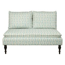 Dual Pillow Back Bench in Ogee Pattern Blue