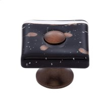 Old World Bronze 35 mm Black Flat Square Knob