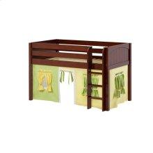 Low Loft w/ Straight Ladder & Curtain : Twin : Chestnut : Panel