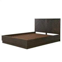 Wellington KD Herringbone Queen Bed Set, Thames Brown