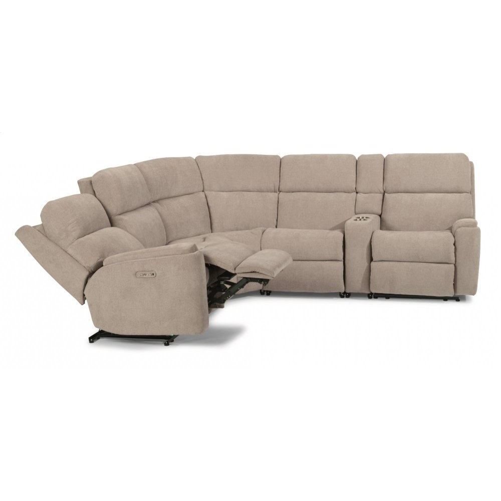 Rio Fabric Power Reclining Sectional with Power Headrest
