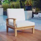 Marina Outdoor Patio Teak Left-Facing Sofa in Natural White Product Image