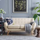 Remark Upholstered Fabric Loveseat in Beige Product Image