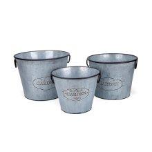 Marin Galvanized Round Planters - Set of 3