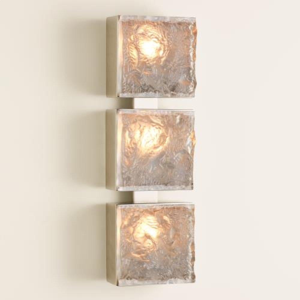 Triple Cube Sconce-Satin Nickel-HW