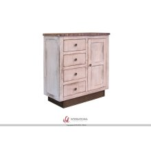 4 Drawers, 1 door Console - White Finish