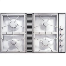 "34"" Expressions™ Collection Gas Downdraft Cooktop, Floating Glass White"