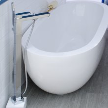 Floor standing single hole tub filler with one lever handle, two way diverter and hand held shower with 59inch flexible hose.