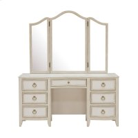 Reece 7 Drawer Vanity Table in Distressed Cream / White Product Image