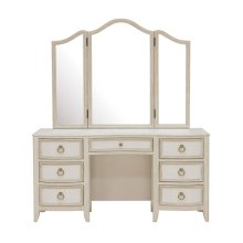 Reece 7 Drawer Vanity Table in Distressed Cream / White