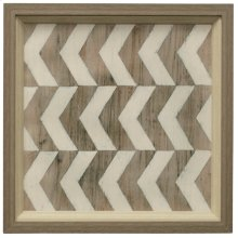 Driftwood Geometry III  Made in USA  2 Step Dimensional Faux Wood Frame  Textured Print  Hanging