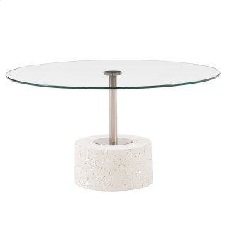 Sharon KD Coffee Table Glass Top with White Concrete Base, Transparent