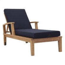 Marina Outdoor Patio Teak Single Chaise in Natual Navy