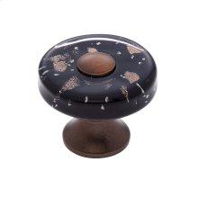 Old World Bronze 35 mm Black Flat Round Knob