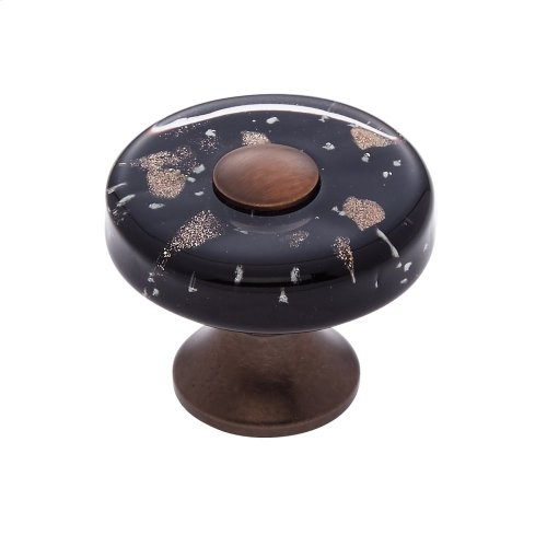 Old World Bronze 35 mm Black Flat Round Knob