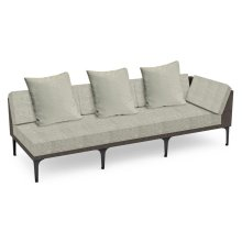 "98"" Outdoor Dark Grey Rattan 3 Seat L-Shaped Left Sofa Sectional, Upholstered in Standard Outdoor Fabric"
