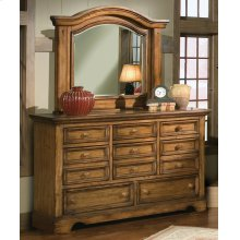Heavily Distressed Mirror With Triple Dresser