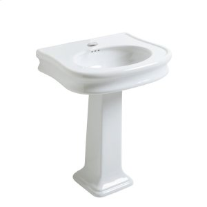 Isabella Collection large, traditional china pedestal with integrated oval bowl, decorative trim, and overflow. Product Image