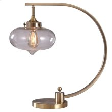 CANTON TABLE LAMP  Antique Brass Finish on Metal Body  Clear Glass Globe  25 Watt