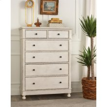 Bella Grigio - Six Drawer Chest - Chipped White Finish