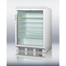 Commercially Approved Built-in Undercounter Glass Door Beverage Center for Red Wine and Ale Storage, With Digital Thermostat, White Cabinet, and Lock