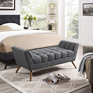 Response Medium Upholstered Fabric Bench in Gray