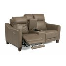 Forte Leather Power Reclining Loveseat with Console and Power Headrests Product Image