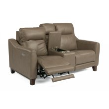Forte Leather Power Reclining Loveseat with Console and Power Headrests