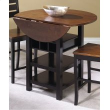 CR-A7572  Pub Table in Black with Cherry Finish Drop Leaf Top