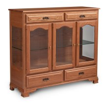 Classic 3-Door Dining Cabinet, 3 Doors with Beveled Glass Doors and Ends