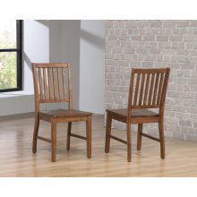 DLU-BR-C60-AM  Slat Back Dining Chair  Set of 2  Amish Brown