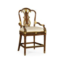 Neo-Classical Gilded Lyre Back Bar Stool Armchair, Upholstered in MAZO