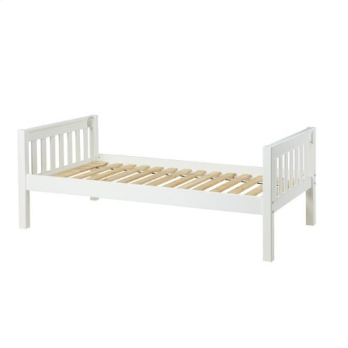 Basic Bed (Low/Low) : Twin : White : Slat