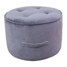 Luna Grey Velvet Ottoman