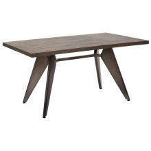 Astoria Metal Table 2/ctn With Vintage Ash Walnut Top and Matte Gunmetal Base