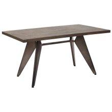 Astoria Metal Table 2/ctn With Vintage Ash Walnut Top and Matte Gunmetal Base