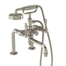 Arcade Exposed Deck-mount Bathtub Faucet with Handshower and Metal Lever Handles - Polished Chrome