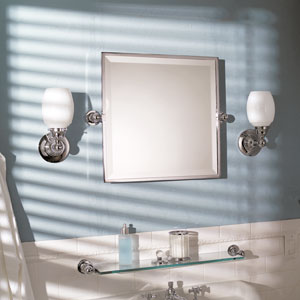 "City 212 20"" X 20"" Framed Pivoting Mirror - Satin Nickel"
